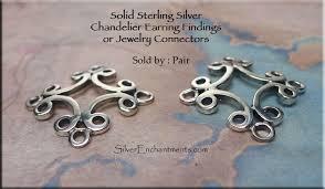 sterling silver scroll iron cross chandelier earring findings connectors pair