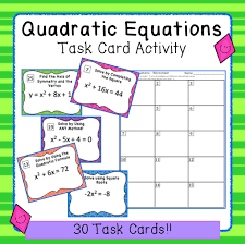 quadratic equations task card activity