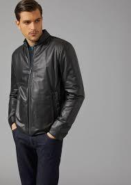 giorgio armani jacket in padded nappa leather leather jacket man f