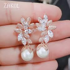 <b>ZAKOL</b> White Color Flower Shape Zircon <b>Water Drop</b> Crystal ...