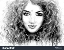 black and white watercolor painting of a young pretty girl with long red curly hair and