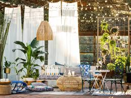 pergola lighting ideas design. Bohemian-Inspired Patio With Curtains, String Lights And Lots Of Pillows Pergola Lighting Ideas Design E