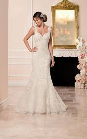 lace fit and flare wedding dress stella york