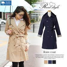 trench coat storage pouch raincoat fashionable raincoat women for jacket water repellent processing commuter school rain wear long sleeve trench coat