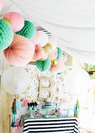 Tissue Balls Party Decorations Cue the Confetti Party sequins stripes glitter tassels gold 87