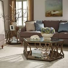 Standard Furniture Santa Barbara Hexagonal Glass Top End Table W/ Champagne  Metal Base