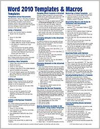 Fact Sheet Template Microsoft Word Microsoft Word 2010 Templates Macros Quick Reference Guide