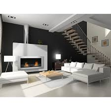 contemporary living room design with white leather sectional sofa and modern coffee table plus ethanol fireplace