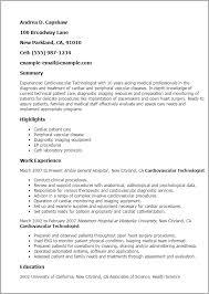 Resume Templates: Cardiovascular Technologist