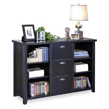 black wooden bookcase with three shelves and having
