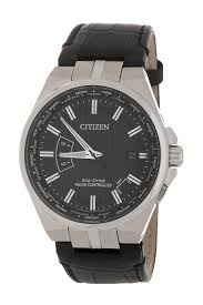 citizenmen s world time a t perpetual embossed leather watch 42mm