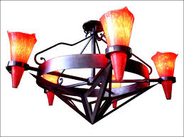custom chandelier with red glass
