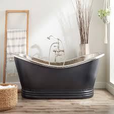 66 paige hammered copper double slipper tub nickel interior antique black
