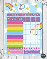 Activity Chart Kids Details About Unicorn Personalised Reward Chart Behaviour Chore Kids Activity Chart Potty