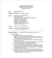 Examples Of Minutes Taken At A Meeting Staff Meeting Minutes Template 18 Free Word Excel Pdf