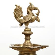 Long Brass Oil Lamp With Peacock Design 32 X 11 Inches Bol 93