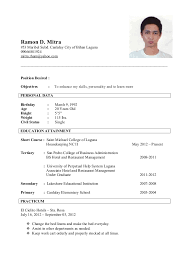 housekeeping resume templates sample resume for housekeeping military bralicious co
