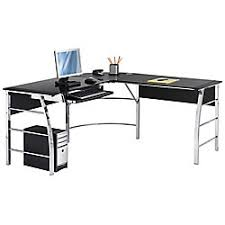 office depot l shaped desk. realspace mezza l shaped glass computer desk 30 h x 61 12 w d blackchrome by office depot u0026 officemax n