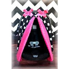 MINKY carseat canopy car seat cover HOT PINK black whit