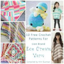 Lion Brand Free Crochet Patterns Simple Link Blast 48 Free Crochet Patterns For Lion Brand Ice Cream Yarn