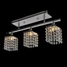 modern 3 lights crystal led ceiling light linear design pendant lamp flush mount ceiling lights fixture for hallway bedroom living room