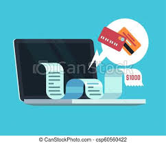 Invoice Papers Online Payment And Digital Invoice Concept Paying Receipt On Computer Screen E Documents And Tax Papers Vector Background