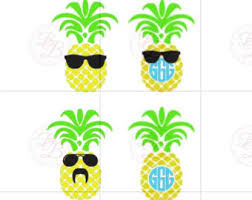 pineapple with sunglasses clipart. monogram pineapple svg with sunglasses and jpeg clipart