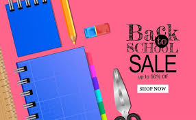 Welcome Back To School Sale Banner Template With Stationary