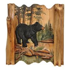 Wood Carved Wall Decor Black Bear Forest Carved Wood Wall Art