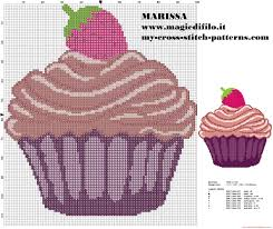 Easy Cross Stitch Pattern Cupcake With Strawberry Free