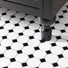 black and white tile floor. White \u0026 Black Tile Floor And Cabinet Feet Extensions Made From Dowels Level The Vanity R