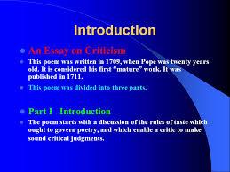 alexander pope essay on criticism analysis pope essay on criticism analysis pope essay criticism an essay on