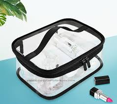 portable clear pvc makeup bag zippered waterproof cosmetic bag transpa travel storage carry on pouch pvc zippered toi