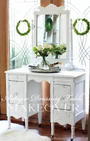 antique dressing table makeover in pure white diy chalk paint from confessions of a serial do