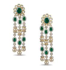 gold green gold finish white sapphire and emerald chandelier earrings