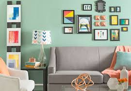 living room color ideas. Colorful Gallery Wall Complemented By Pale Mint Green Living Room Color Ideas