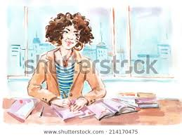 student sitting at desk drawing. Interesting Desk Watercolor Drawing Painting Girl Student Sitting By Desk In Classroom  Writing Notebook On Lesson Education On Student Sitting At Desk Drawing I