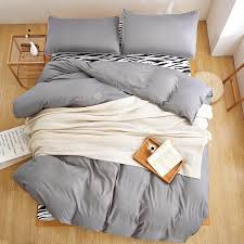 latest double color zebra grey silver colors duvet cover set flat sheet pillowcase 3 bedding sets king queen full twin extra long twin bedding duvet sets