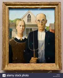 american gothic by grant wood in the art institute of chicago