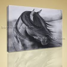 contemporary abstract wall art black and white horse painting hd print picture extra large wall art