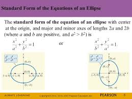 standard form of the equations of an ellipse