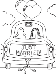Just Married Coloring Pages Getcoloringpagescom