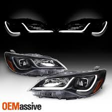 2014 Camry Led Lights Details About For 15 17 Toyota Camry Led Light Tube Drl Projector Headlights Black Housing