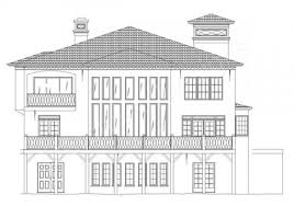 architecture house drawing. Villa Royale House Plan - Rear Elevation Archival Designs Architecture Drawing