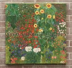 farm garden with sunflowers gustav klimt