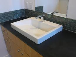 bathroom tile backsplash. Silver Spring Mini Glass Subway Tile Bathroom Sink Backsplash P