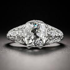 art deco 2 69 carat gia cert cushion cut diamond platinum ring at