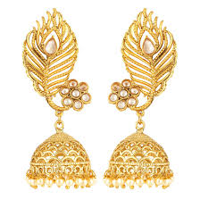Latest Gold Jhumka Earrings Design With Price In India Amazon Com Exclusive Peacock Feather Kundan Touch Indian