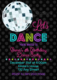 Childrens Disco Invitations Lets Dance Disco Ball Invitation You Print Disco