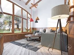 Wood Paneling Living Room Decorating Modern Living Room In A Loft Style Living Room With Corner Sofa